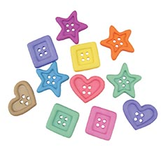 Small Pastel Chunky Shapes Buttons-approx 35/pk