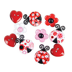 Lovely Ladybugs Buttons