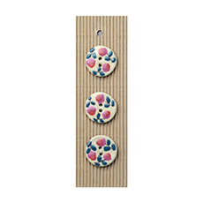 Pink & Purple Flowers Ceramic Buttons