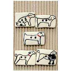 Rectangular Dog Ceramic Buttons