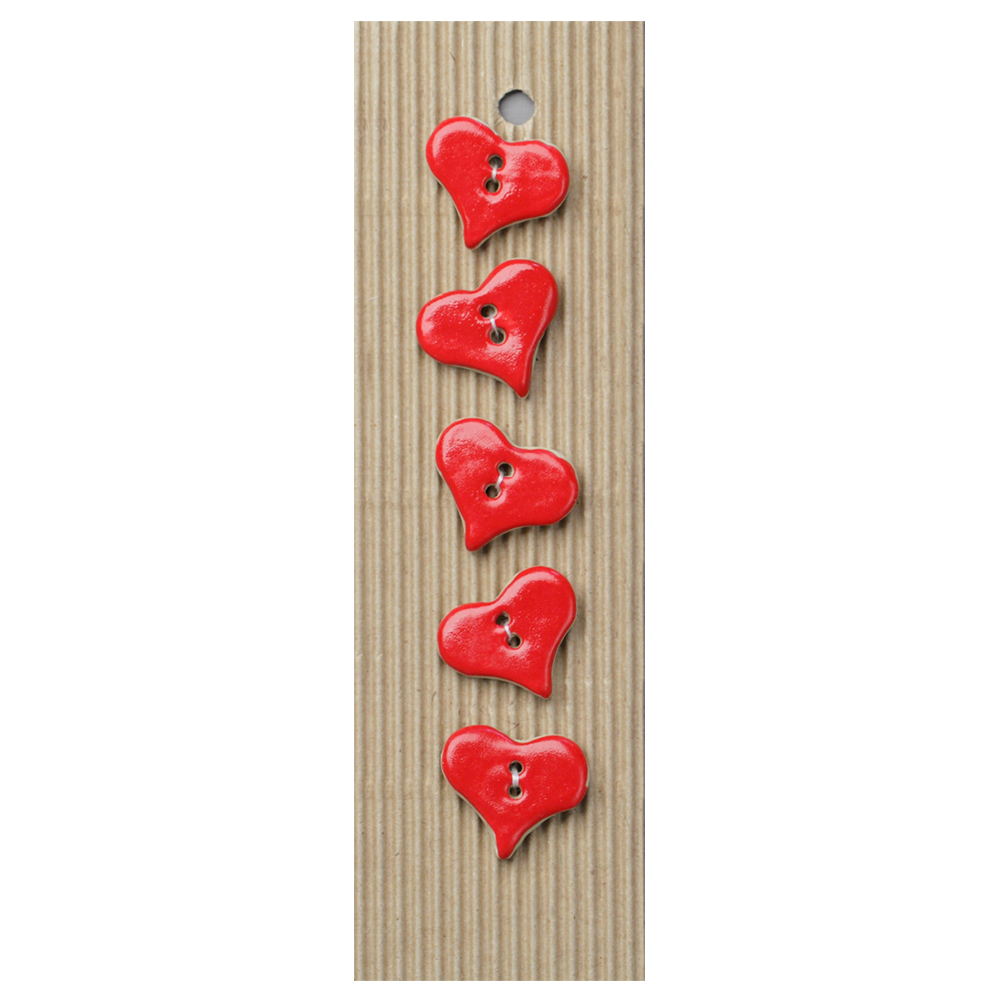 Red Hearts Ceramic Buttons-www.homesew.com