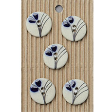 Wispy Indigo Flower Ceramic Buttons