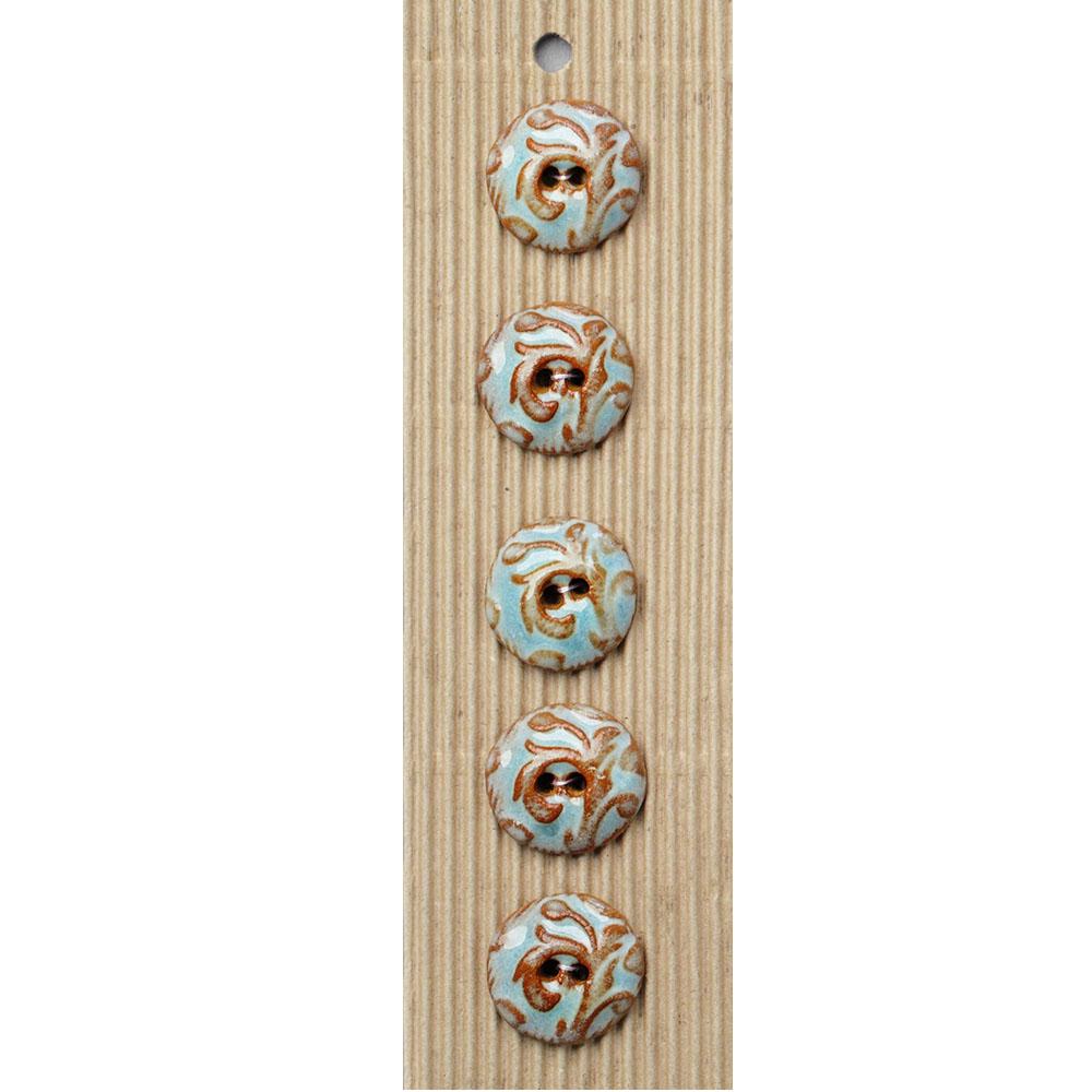 Aqua Taupe Abstract Ceramic Buttons-www.homesew.com