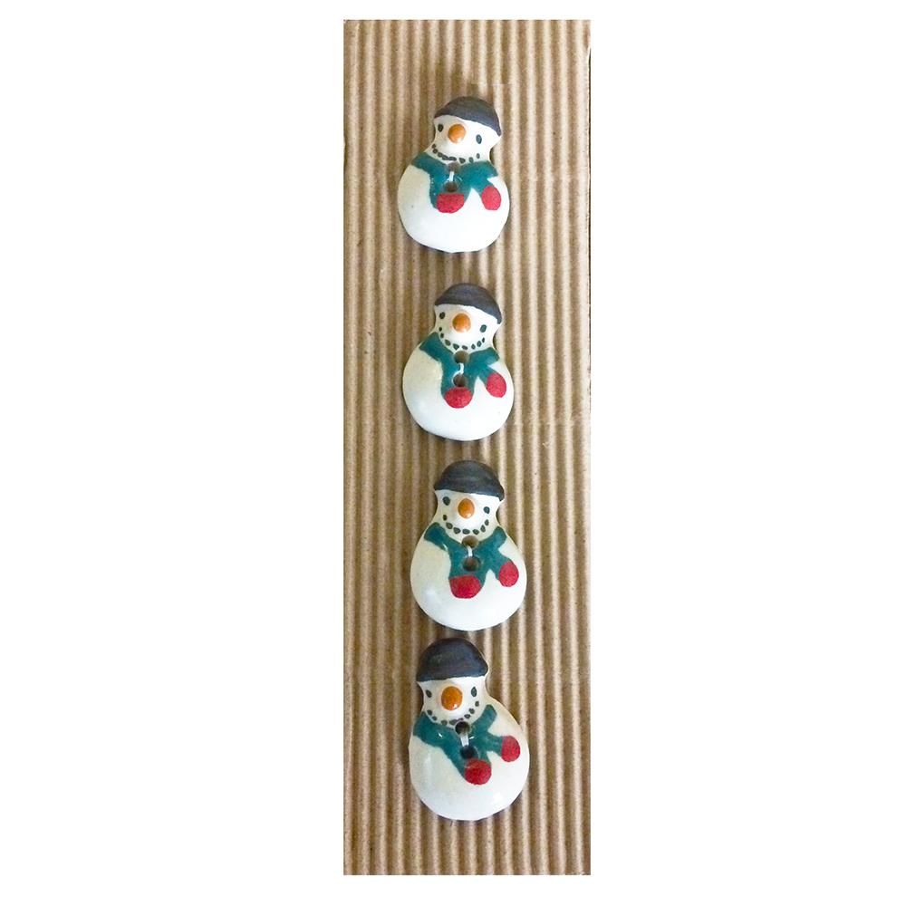 Snowman Set Of Ceramic Buttons-www.homesew.com
