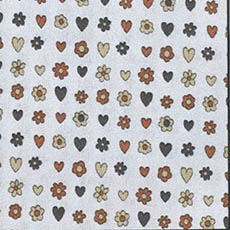 Brown Daisy/Hearts on White Bkgd.-by the yard