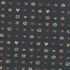 Brown Daisy/Hearts on Black Bkgd-by the yard