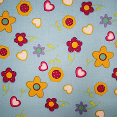 Gold Daisies/Hearts Fabric w/Turquoise Bkgd. - by the yard