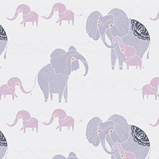 Pastel Dreams Elephants on White